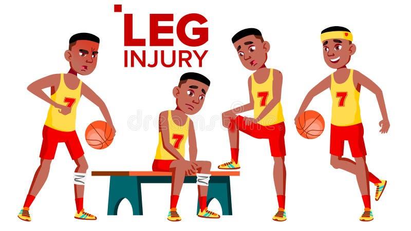 Αθλητής αθλητικών τύπων καλαθοσφαίρισης διατάξεων θέσεων με το διάνυσμα τραυματισμών ποδιών Απομονωμένη απεικόνιση κινούμενων σχε ελεύθερη απεικόνιση δικαιώματος