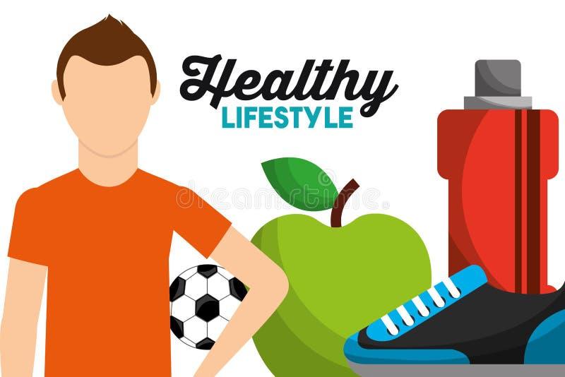 Αθλητής με τον υγιή τρόπο ζωής πάνινων παπουτσιών νερού μπουκαλιών μήλων σφαιρών ποδοσφαίρου διανυσματική απεικόνιση