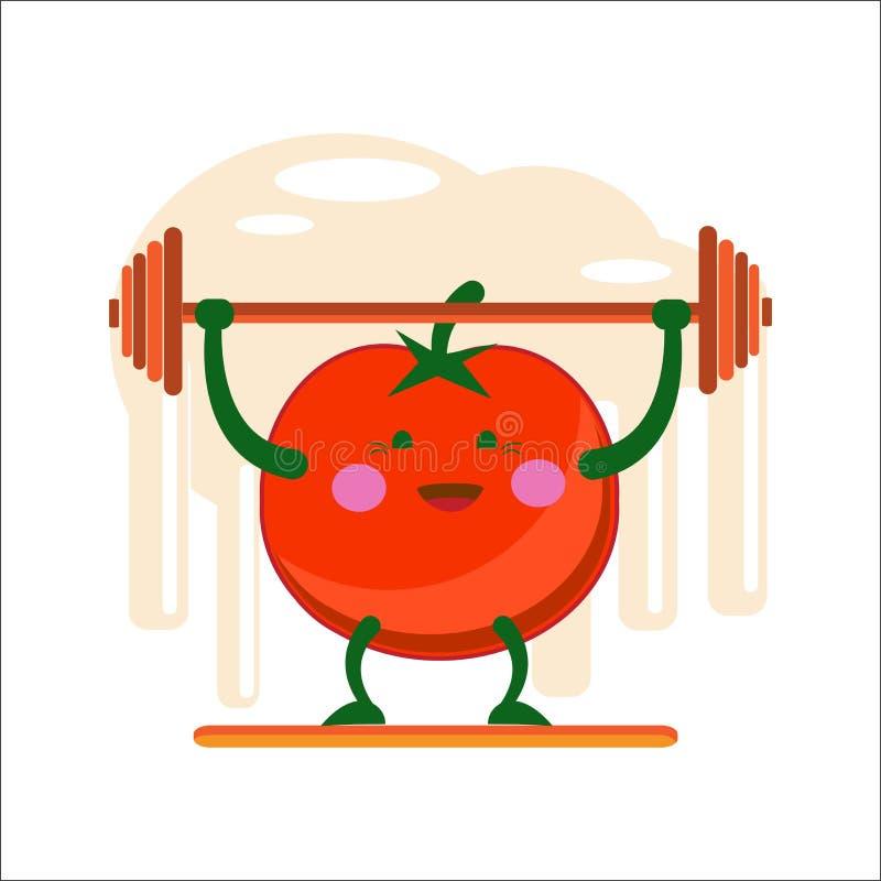 Αθλητής ντοματών Η εύθυμη κόκκινη ντομάτα αυξάνει το φραγμό Επίπεδο ύφος διάνυσμα απεικόνιση αποθεμάτων