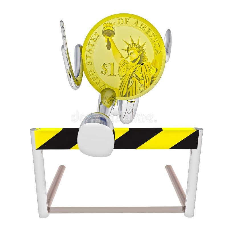 Αθλητής ρομπότ νομισμάτων δολαρίων που πηδά επάνω από την απεικόνιση εμποδίων απεικόνιση αποθεμάτων