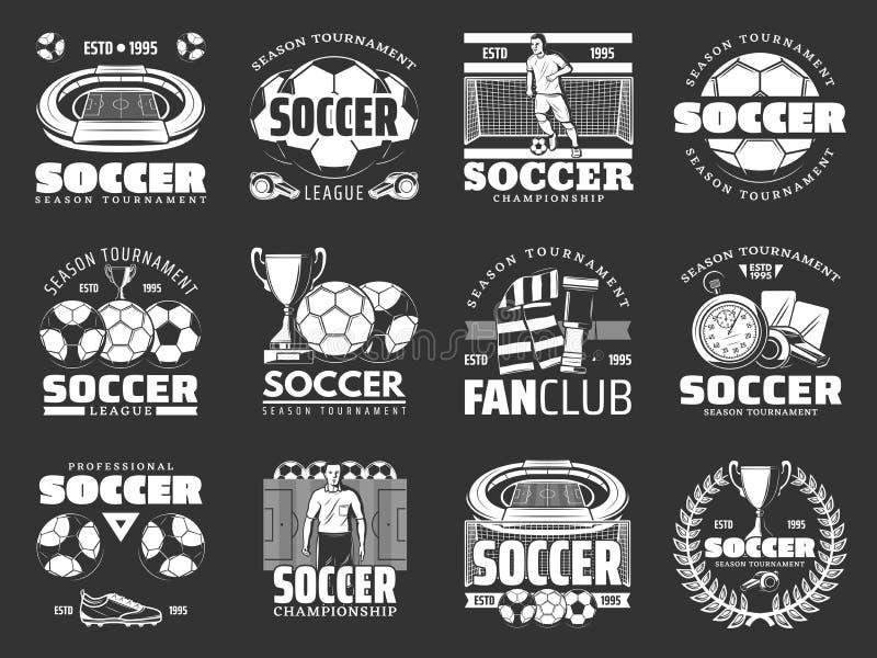 Αθλητικά στοιχεία παιχνιδιών ποδοσφαίρου και εικονίδια παικτών διανυσματική απεικόνιση