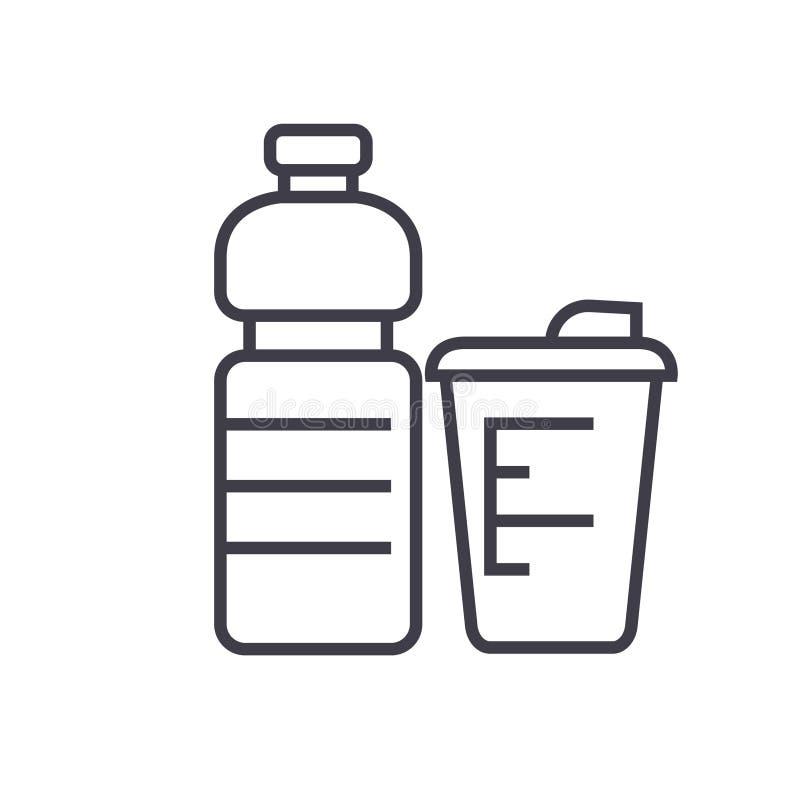 Αθλητικά τρόφιμα, επίπεδη απεικόνιση γραμμών τροφίμων ικανότητας, απομονωμένο διάνυσμα εικονίδιο έννοιας στο άσπρο υπόβαθρο απεικόνιση αποθεμάτων