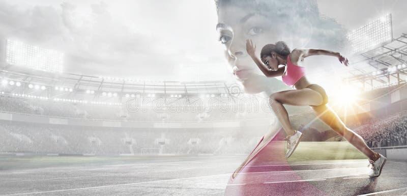 Αθλητικά υπόβαθρα Ηρωικό πορτρέτο ποδηλατών στοκ εικόνα