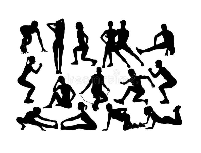 Αθλητικές σκιαγραφίες ικανότητας και γυμναστικής απεικόνιση αποθεμάτων