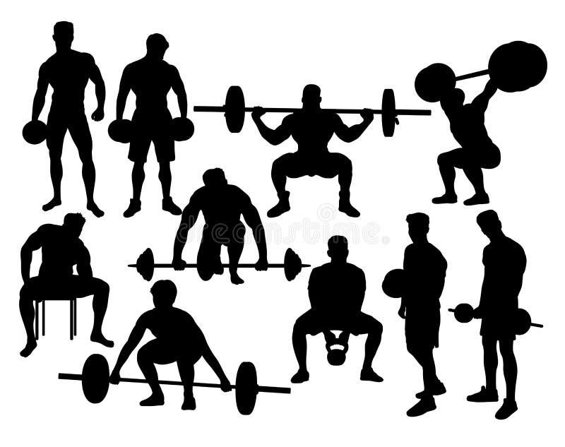 Αθλητικές σκιαγραφίες Weightlifter, διανυσματικό σχέδιο τέχνης ελεύθερη απεικόνιση δικαιώματος