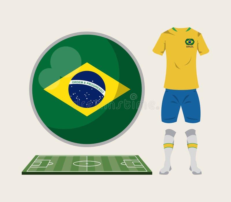 Αθλητική ένδυση της Βραζιλίας ποδοσφαίρου διανυσματική απεικόνιση