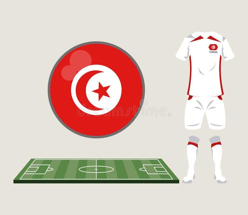 Αθλητική ένδυση της Τυνησίας ποδοσφαίρου απεικόνιση αποθεμάτων