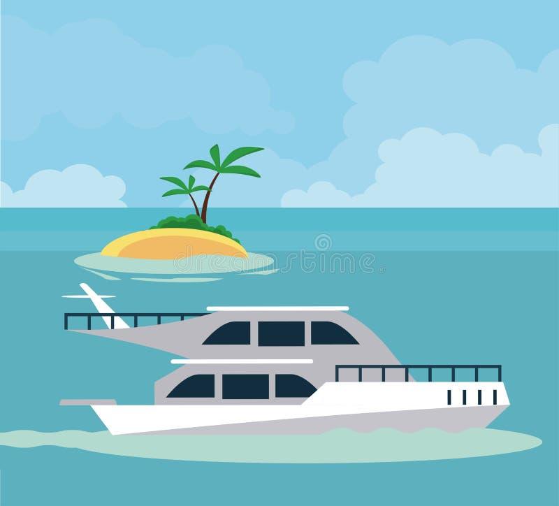 Αθλητική βάρκα εν πλω διανυσματική απεικόνιση