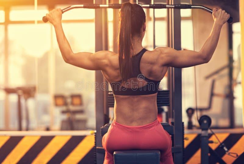 Αθλητική γυναίκα στη γυμναστική, πίσω άποψη στοκ φωτογραφία