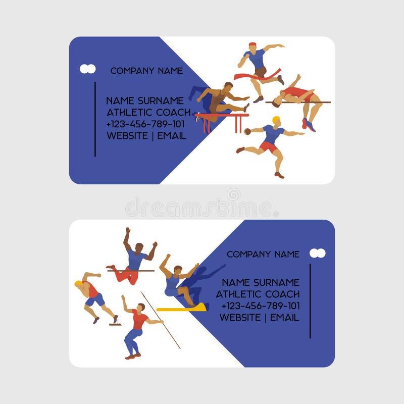 Αθλητική διανυσματική απεικόνιση επαγγελματικών καρτών λεωφορείων Η άσκηση του αρσενικού σε διαφορετικό θέτει Οι αριθμοί ατόμων ε απεικόνιση αποθεμάτων