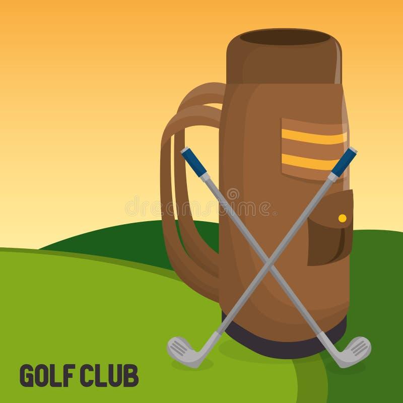 Αθλητική λέσχη γκολφ με τη caddy τσάντα ελεύθερη απεικόνιση δικαιώματος