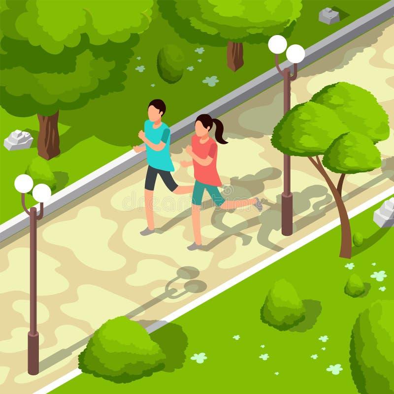 Αθλητική οικογένεια που τρέχει στη διανυσματική isometric τρισδιάστατη απεικόνιση πάρκων υγιής τρόπος ζωής έννοιας διανυσματική απεικόνιση