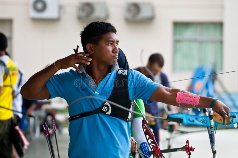 αθλητική ομάδα Ταϊλανδός πρακτικής τοξοβολίας εθνική στοκ εικόνα με δικαίωμα ελεύθερης χρήσης