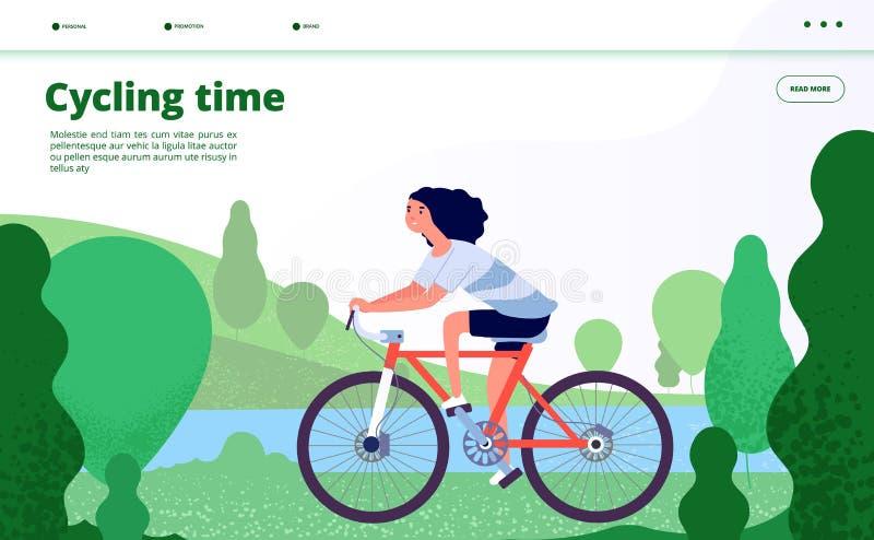 Αθλητική προσγείωση Ανακύκλωση γυναικών, αθλητικές ασκήσεις ικανότητας Το οδηγώντας ποδήλατο προσώπων στο δασικό πάρκο, απολαμβάν ελεύθερη απεικόνιση δικαιώματος