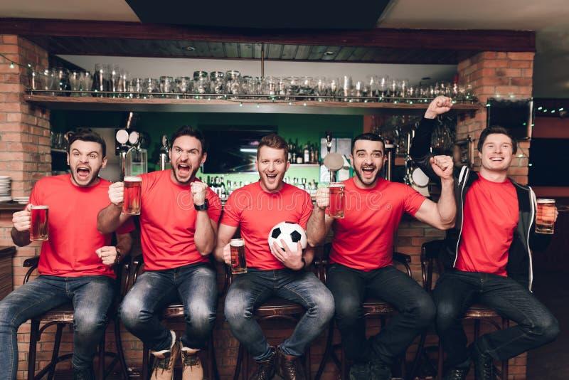 Αθλητικοί ανεμιστήρες που κάθονται στον εορτασμό γραμμών και την ενθαρρυντική μπύρα κατανάλωσης στον αθλητικό φραγμό στοκ φωτογραφίες με δικαίωμα ελεύθερης χρήσης
