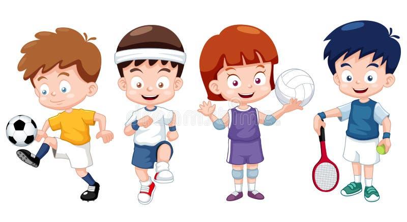 Αθλητικοί χαρακτήρες κατσικιών κινούμενων σχεδίων διανυσματική απεικόνιση
