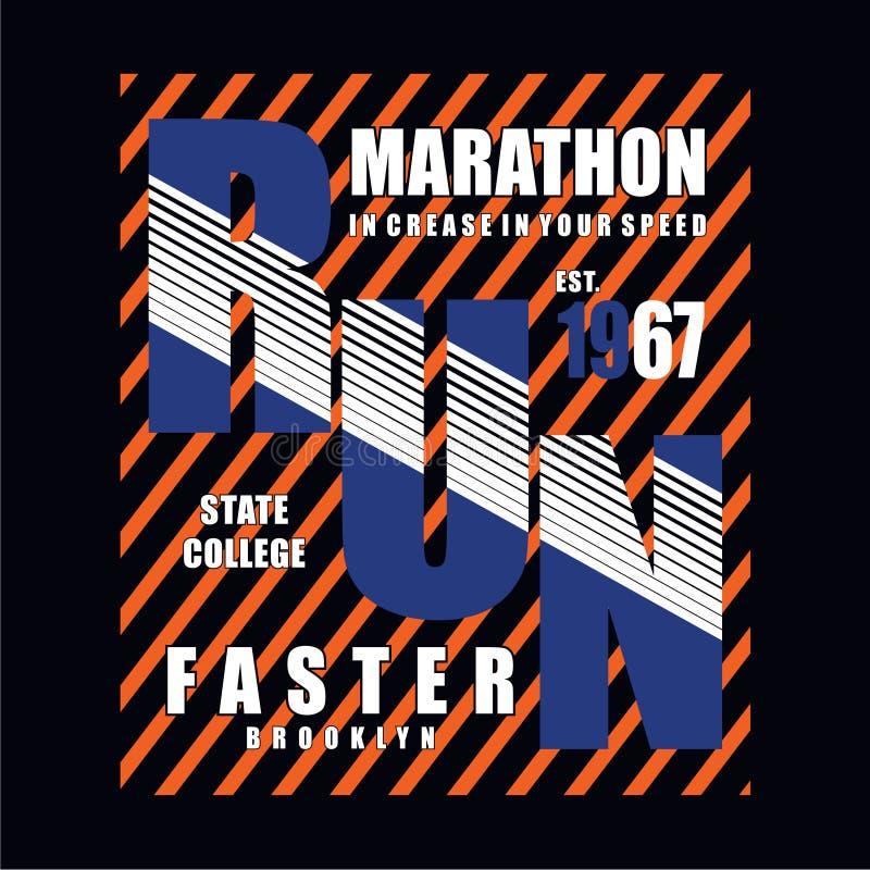 Αθλητικός αθλητισμός στην πτυχή στην τυπογραφία ταχύτητάς σας, γραφική παράσταση μπλουζών διανυσματική απεικόνιση