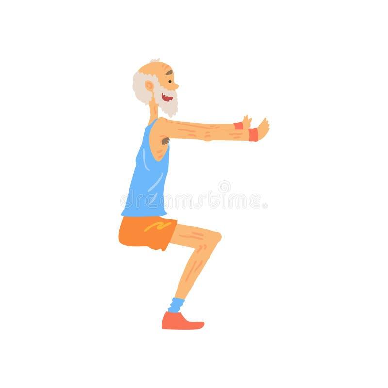 Αθλητικός ηληκιωμένος που κάνει την κοντόχοντρη άσκηση Ηλικιωμένος χαρακτήρας κινούμενων σχεδίων με την γκρίζα γενειάδα στην αθλη διανυσματική απεικόνιση