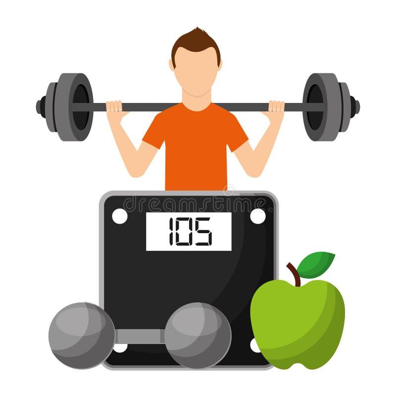 Αθλητικός τύπος με τα φρούτα και αλτήρας που επιλέγει τον υγιή τρόπο ζωής διανυσματική απεικόνιση