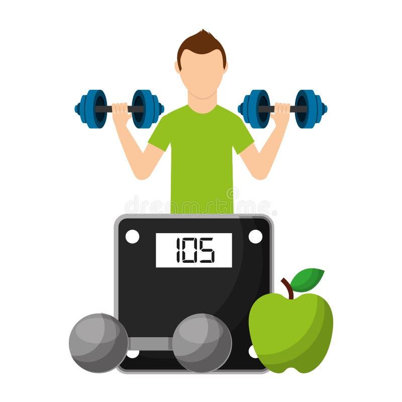 Αθλητικός τύπος με τα φρούτα και αλτήρας που επιλέγει τον υγιή τρόπο ζωής απεικόνιση αποθεμάτων