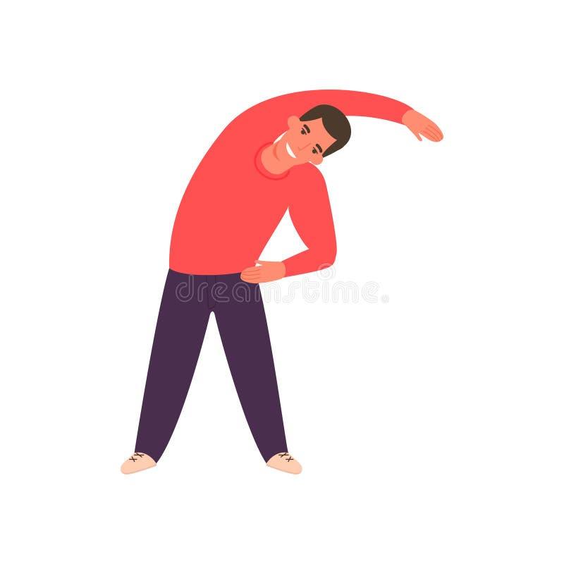 Αθλητικό άτομο που ασκεί στη γυμναστική Ο τύπος workout διανυσματική απεικόνιση