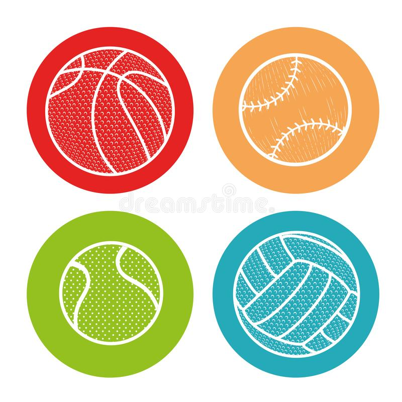 Αθλητικό απομονωμένο σφαίρες εικονίδιο απεικόνιση αποθεμάτων