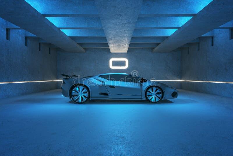Αθλητικό αυτοκίνητο στο μπλε γκαράζ ελεύθερη απεικόνιση δικαιώματος