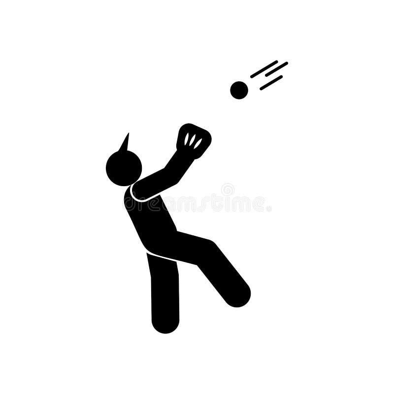 Αθλητικό εικονίδιο προσώπων ατόμων glyph Στοιχείο του εικονιδίου αθλητικής απεικόνισης μπέιζ-μπώλ Τα σημάδια και τα σύμβολα μπορο διανυσματική απεικόνιση