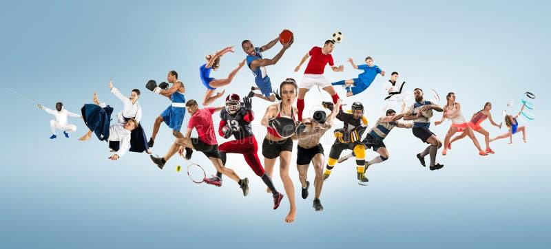 Αθλητικό κολάζ για, ποδόσφαιρο, αμερικανικό ποδόσφαιρο, καλαθοσφαίριση, χόκεϋ πάγου, μπάντμιντον, taekwondo, αντισφαίριση, ράγκμπ στοκ εικόνες