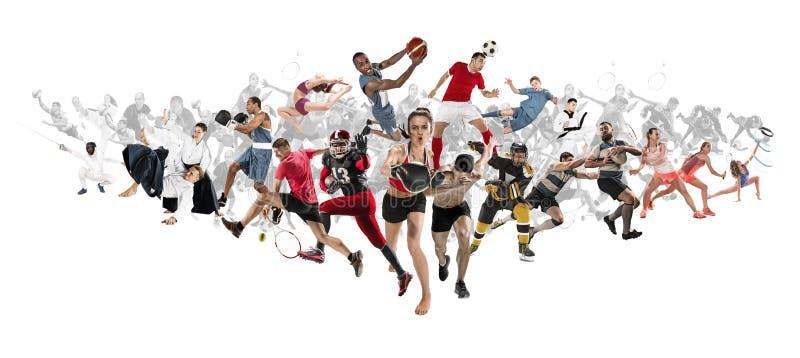 Αθλητικό κολάζ για, ποδόσφαιρο, αμερικανικό ποδόσφαιρο, καλαθοσφαίριση, χόκεϋ πάγου, μπάντμιντον, taekwondo, αντισφαίριση, ράγκμπ στοκ φωτογραφία