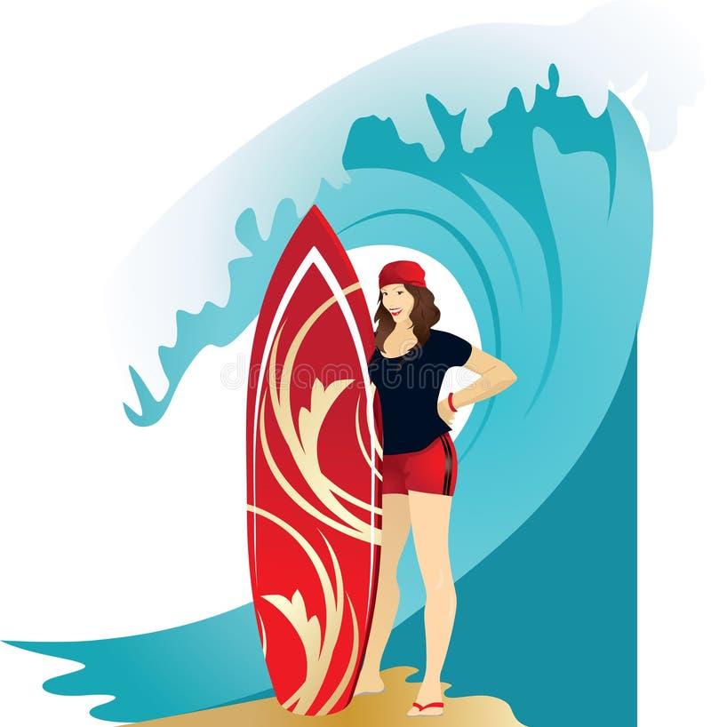 Αθλητικό κορίτσι brunette στα κόκκινα σορτς διανυσματική απεικόνιση