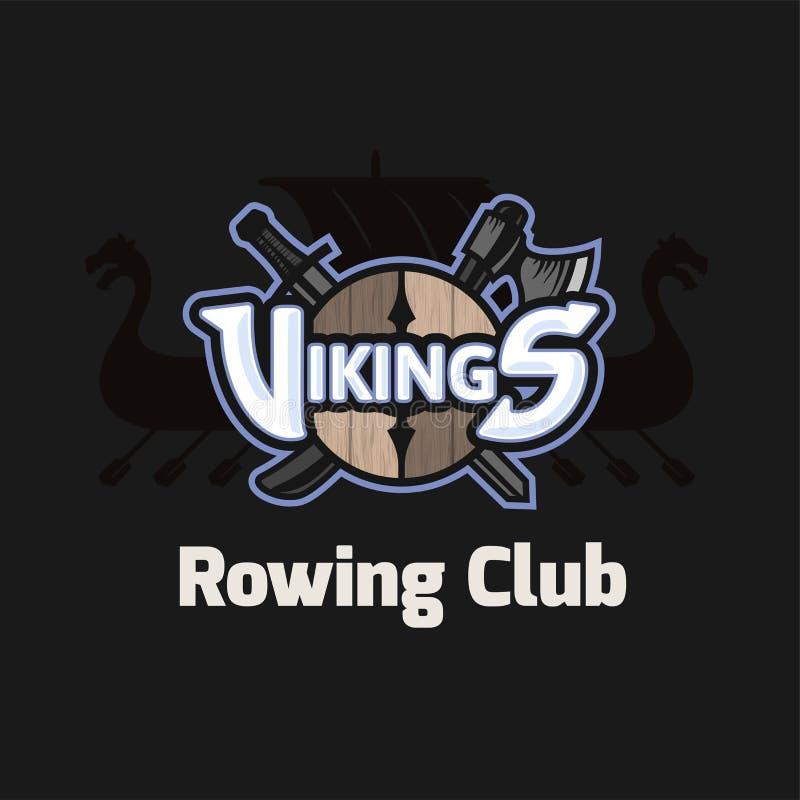 Αθλητικό λογότυπο Βίκινγκ, διανυσματικό έμβλημα για την κωπηλασία της λέσχης διανυσματική απεικόνιση