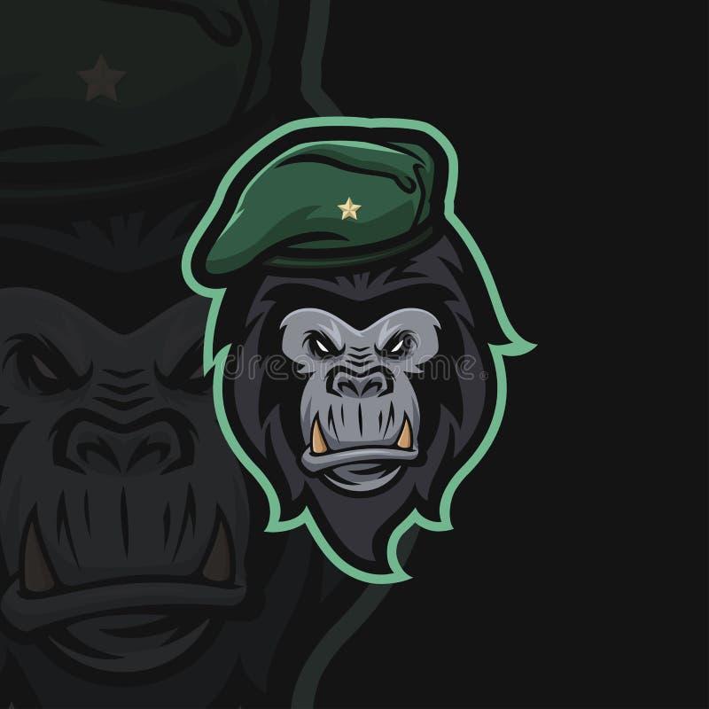 Αθλητικό λογότυπο γορίλλων ε απεικόνιση αποθεμάτων