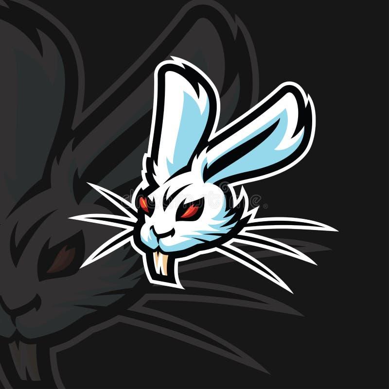 Αθλητικό λογότυπο κουνελιών ε διανυσματική απεικόνιση