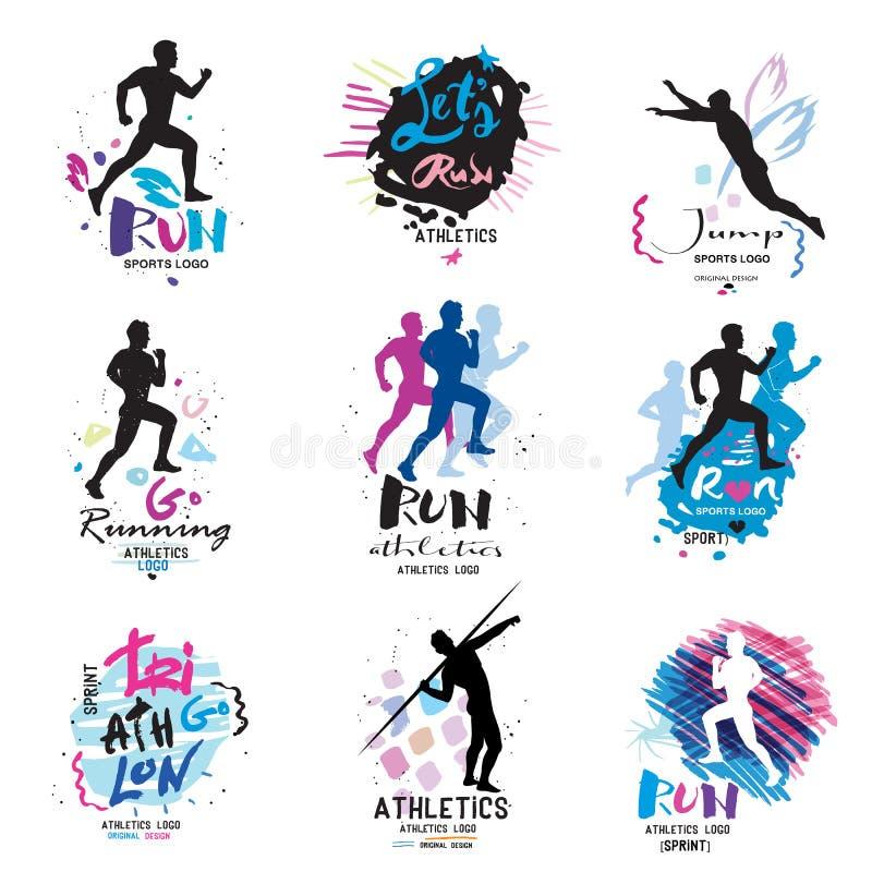 Αθλητικό λογότυπο, logotype αθλητισμός Τρέξιμο, λογότυπο μαραθωνίου και απεικονίσεις ελεύθερη απεικόνιση δικαιώματος