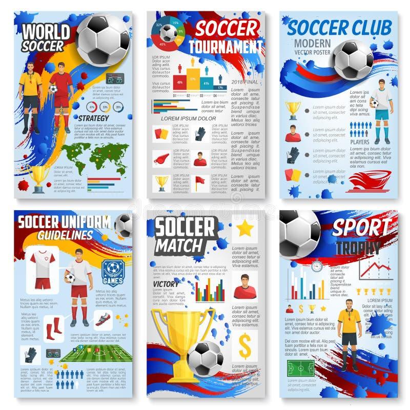 Αθλητικό παιχνίδι ποδοσφαίρου infographic με τον αγώνα ποδοσφαίρου διανυσματική απεικόνιση