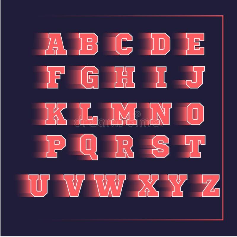 Αθλητικό τρισδιάστατο διανυσματικό ροζ αλφάβητου διανυσματική απεικόνιση