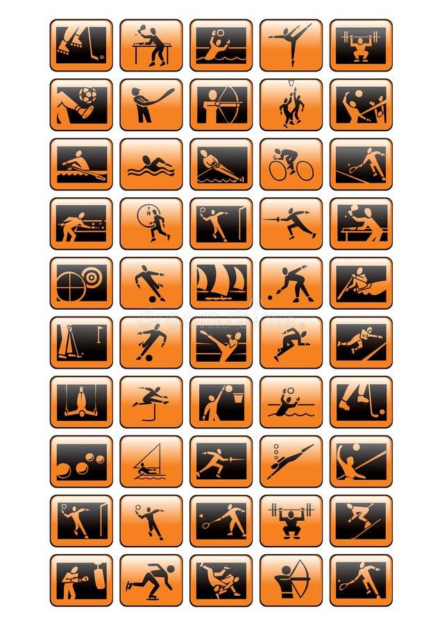 αθλητικό vecto εικονιδίων συλλογής απεικόνιση αποθεμάτων