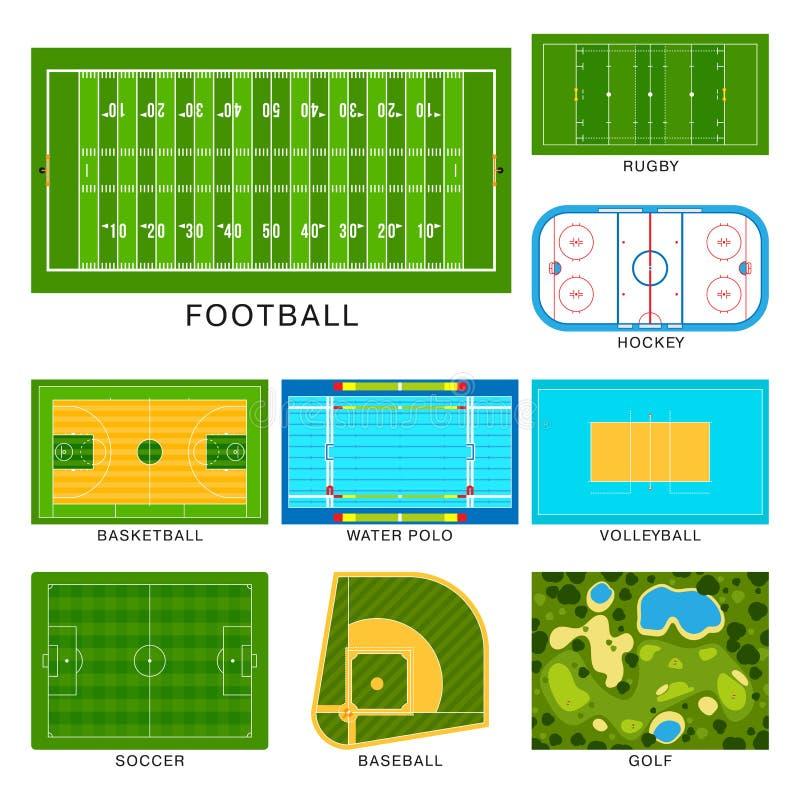 Αθλητικών παιχνιδιών τομέων διανυσματική επίγειων γραμμών παιδικών χαρών απεικόνιση πρωτοπόρων νικητών υποβάθρου χλόης σταδίων πο διανυσματική απεικόνιση