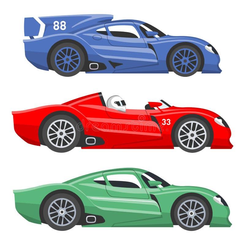 Αθλητικών ραλιών διανυσματική ζωηρόχρωμη γρήγορη μηχανή αυτοκινήτων συνάθροισης ταχύτητας αυτοκινητική και πλαϊνή που συναγωνίζετ διανυσματική απεικόνιση