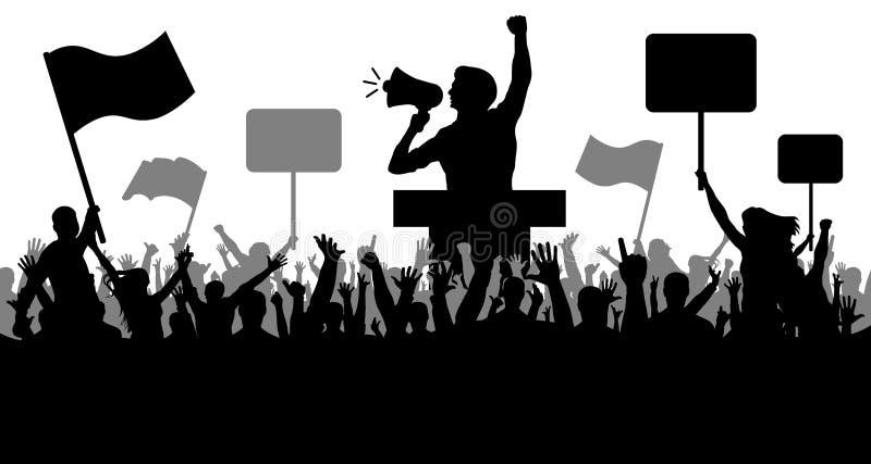 Αθλητισμός και όχλος, ανεμιστήρες Επίδειξη και εκδήλωση και διαμαρτυρία, απεργία και επανάσταση, ομιλητής απεικόνιση αποθεμάτων