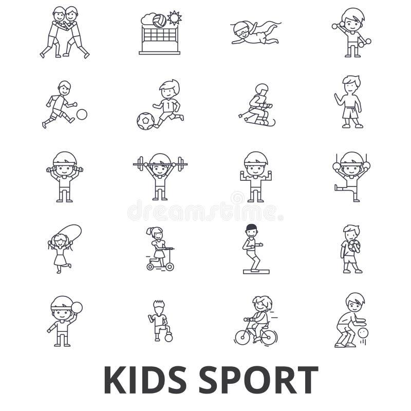 Αθλητισμός παιδιών, παιχνίδι, αθλητισμός παιδιών, ποδόσφαιρο, καλαθοσφαίριση, τρέξιμο, άλμα, εικονίδια γραμμών ομάδων Κτυπήματα E διανυσματική απεικόνιση