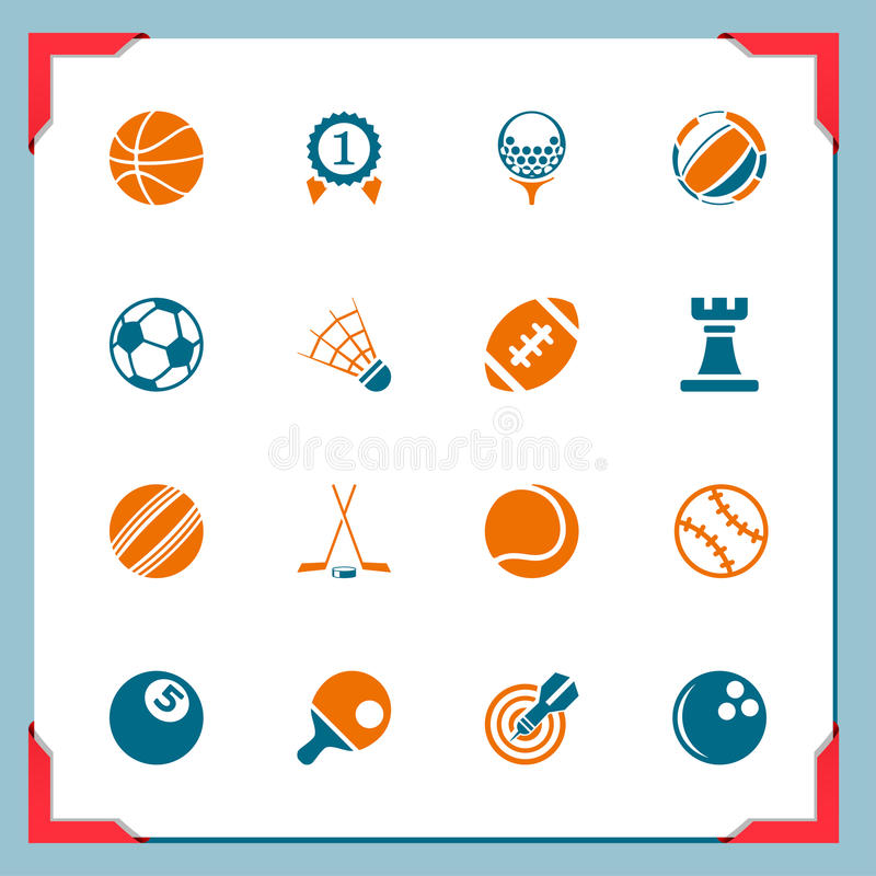 αθλητισμός σειράς εικονιδίων πλαισίων απεικόνιση αποθεμάτων