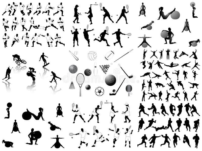 αθλητισμός σκιαγραφιών διανυσματική απεικόνιση