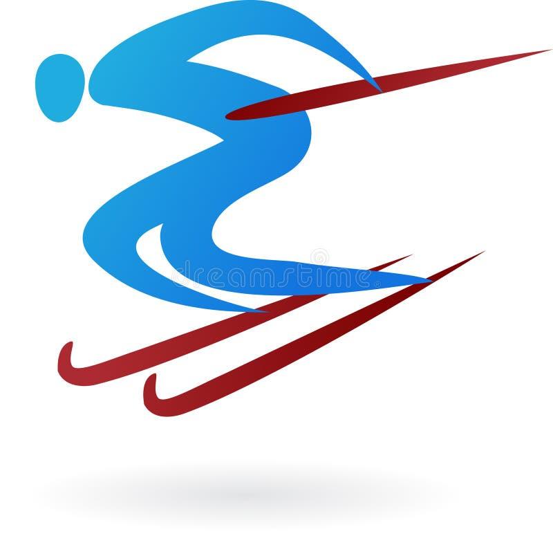 αθλητισμός σκι λογότυπω διανυσματική απεικόνιση