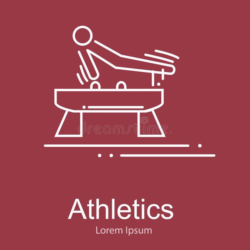 Αθλητής γυμναστικής στο άλογο λαβών ξίφους που κάνει την άσκηση, διανυσματική απεικόνιση αθλητικού ανταγωνισμού διανυσματική απεικόνιση