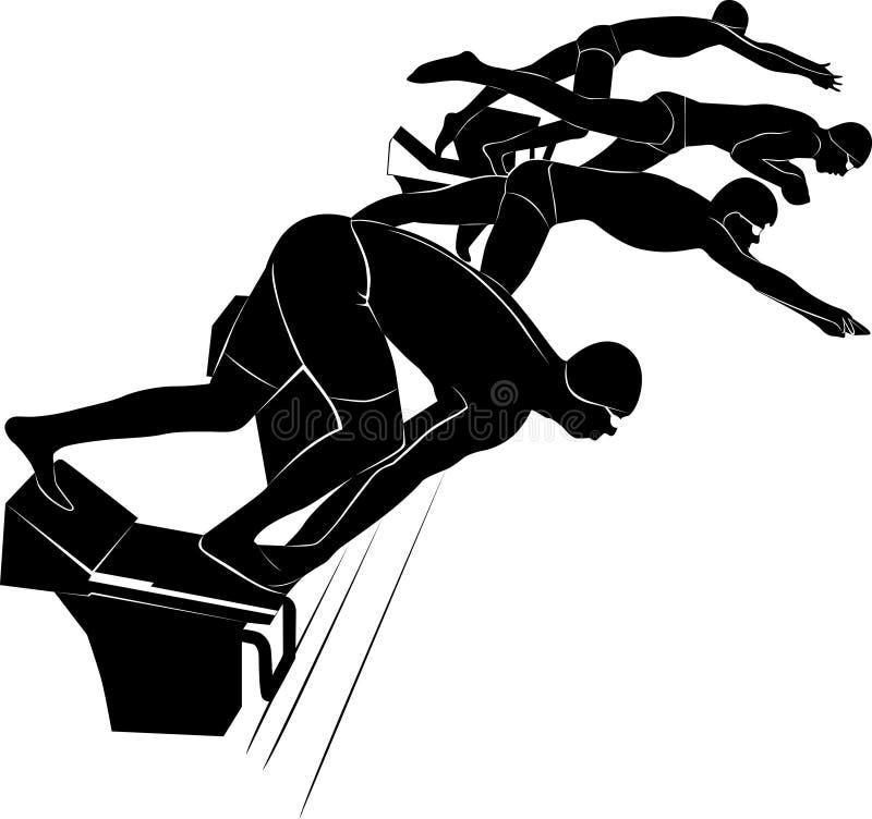 Αθλητής κολυμβητών κολυμβητής Το έμβλημα του κολυμβητή Διανυσματική εικόνα ενός κολυμβητή Σύρεται στο ύφος της χάραξης Κολύμβηση  απεικόνιση αποθεμάτων