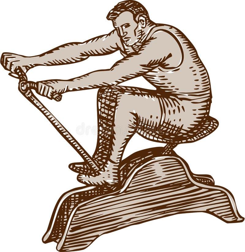 Αθλητής που ασκεί την εκλεκτής ποιότητας μηχανή κωπηλασίας χαρακτική ελεύθερη απεικόνιση δικαιώματος