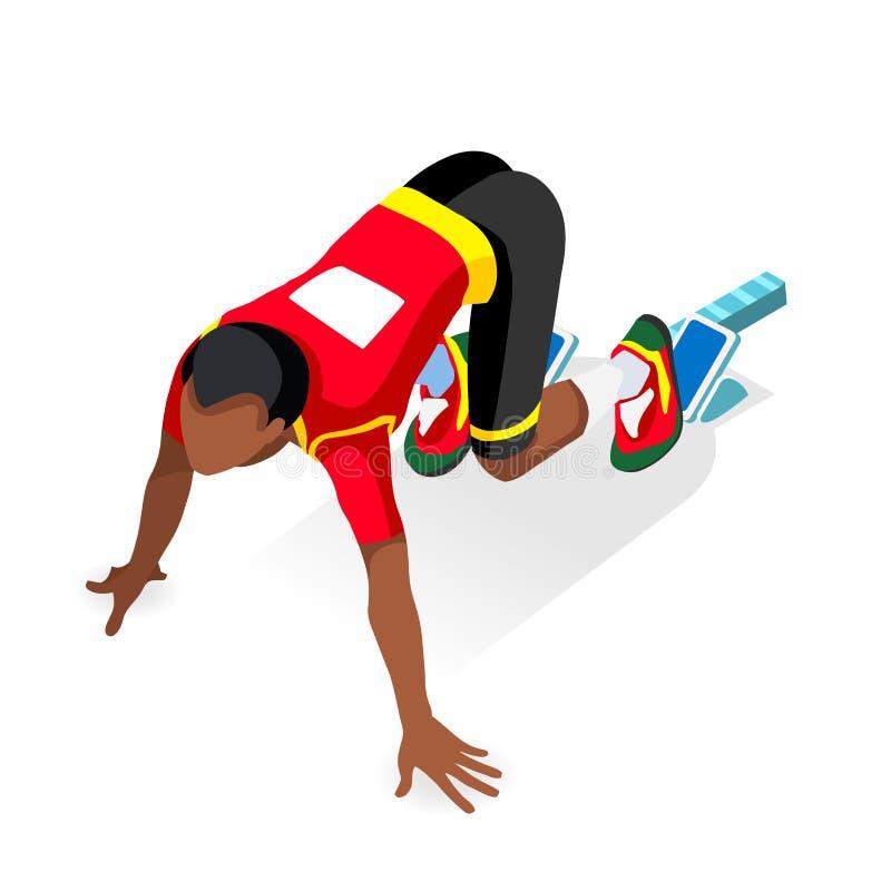 Αθλητής δρομέων Sprinter στο σύνολο εικονιδίων θερινών αγώνων έναρξης αγώνων αθλητισμού αρχικών γραμμών Τρισδιάστατος επίπεδος Is διανυσματική απεικόνιση