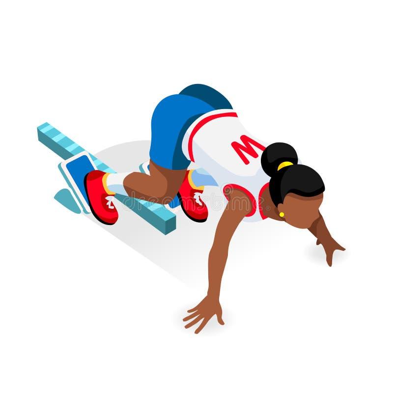 Αθλητής δρομέων Sprinter στο σύνολο εικονιδίων θερινών αγώνων έναρξης αγώνων αθλητισμού αρχικών γραμμών τρισδιάστατος επίπεδος Is απεικόνιση αποθεμάτων